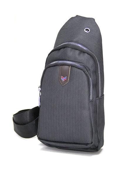 Мужская сумка через плечо 8803 из текстиля т.серая