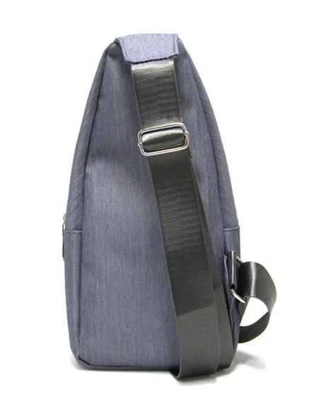 Мужская сумка-рюкзак, через плечо 8803 из текстиля св.серая