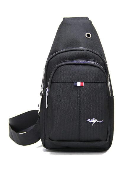 Мужская сумка через плечо 8807 из текстиля чёрная