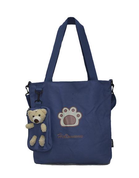 Шопер, сумка женская текстильная 9118 цвет — синий