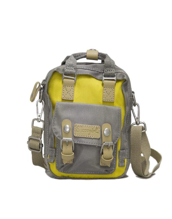 Сумка-рюкзак, 1966, мини. серо-желтый