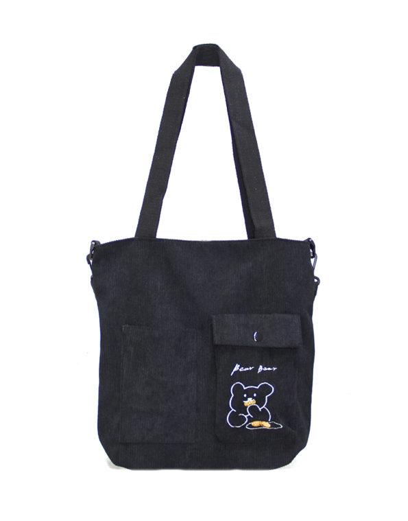 Шопер, сумка женская вельветовая 6798  чёрная
