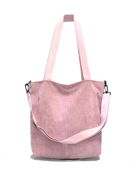 Шопер, сумка женская вельветовая 6798 розовая
