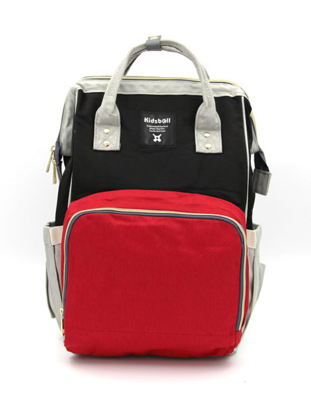 Сумка-рюкзак для мамочки В-001,Черно-красный